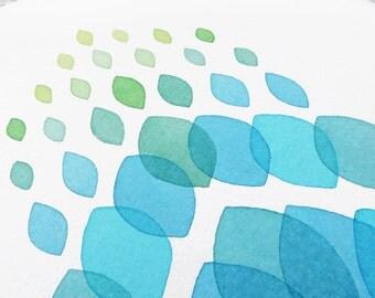 "Original watercolor painting / Blue Abstract Art / Minimal Art / Geometrical Art / ""Happy Rain"""
