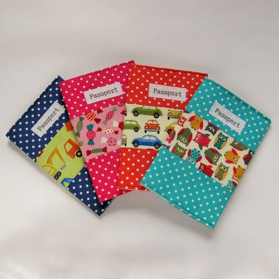 Passport cover kids fabric bright colours passport holder for Bright childrens fabric