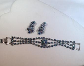 Vintage Blue AB Bracelet and Earrings