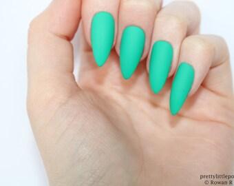 Stiletto nails, Matte green stiletto nails, Fake nails, Press on nails, False nails, Stiletto false nails, Press on stiletto nails