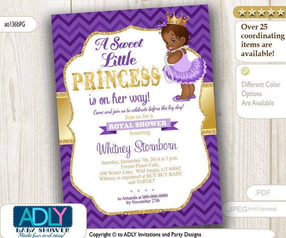 purple gold african american princess baby shower, Baby shower invitations