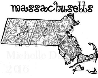 Massachusetts State Colouring Page