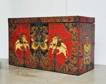 Large Tibetan Trunk - Painted Leather over a Wood Core with Sacred Elephants
