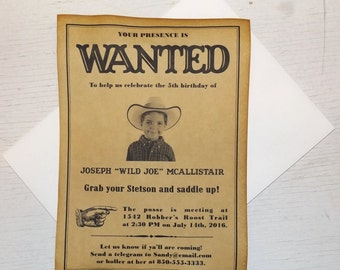 Western Wanted Poster Style Invitations for Kids 5x7, birthday