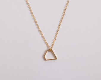 Golden Necklace  Minimal Necklace Diamond Triangle Gold Plated