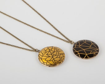 Necklace Photo Locket Minimal Print Triangle Yellow Black