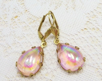 Pink Earrings Ear Dangles Aurora Borealis Rainbow Irridescent Rhinestone Crystal Teardrops Victorian Earrings Summer Jewelry Gift