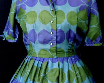 Vintage 1950s  Meg Marlowe  Novelty print Shirtwaist Dress- Medium Size Bust 36 Waist 26 Rhinestone Buttons Green Blue Dress Full Skirt