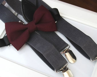 Deep Burgundy bow-tie & Dark grey elastic suspender set