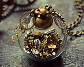 Steampunk Necklace Watch Part Pendant Steam Punk Jewelry Glass Orb Miniature Cogs Terrarium Swiss Gears Globe Sphere Cyberpunk Costume Clock