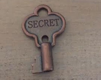 1 Key Pendant, Secret Engraved Key, Copper Key Charm, USA Supplier