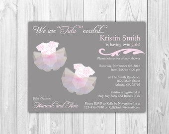 TWINS Baby Girl Shower Invitations |  Tutu Excited (8 Invitations and 8 Envelopes)