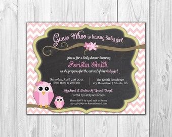 Chevron Owl | Baby Girl Shower Invitation (8 Invitations and 8 Envelopes)