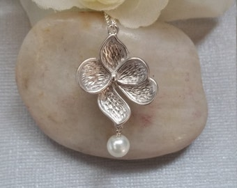 Orchid Flower Necklace, Sterling Silver, Jewelry