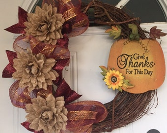 Fall Blessings Grapevine Wreath
