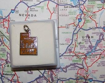 Vintage UTAH  Sterling  and Enamel State Charm -- Ogden and Salt Lake City