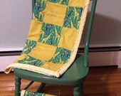 Baby Blanket-Green and Orange Origami Giraffe-t 100%Cotton with Yellow Minky Backing