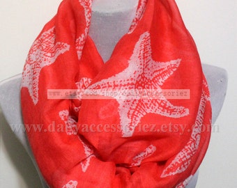 Coral Red Starfish Infinity Scarf, Starfish Print Scarf, Chunky and Soft Loop Scarf, Star Eternity Scarf, Christmas Gift, For Her, Womens