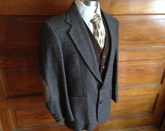 Brown & Black Tweed Jacket w/elbow patches Sz 39S (men's Med)