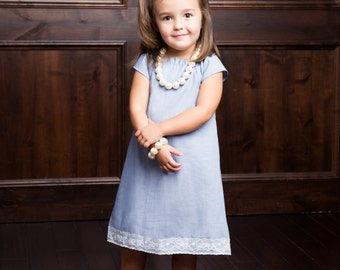 Chambray Dress, Denim Dress, Girl Dress, Little Girl Dress, Denim and Lace Dress, Chambray and Lace Dress