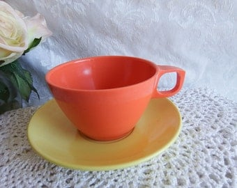 Vintage 1950s Mallo-Ware Melamine Melmac Mixed Colors Orange and Yellow Cup and Saucer