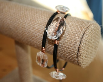 Stackable Crystal Bangles on Black Wire