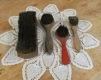 Vintage animal hair shoe shine brushes