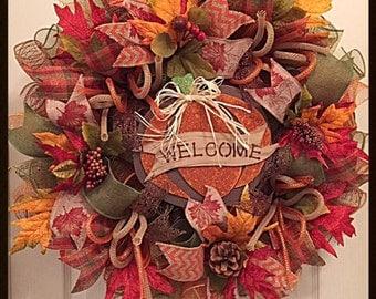 Thankful Fall Pumpkin Deco Mesh Wreath/Welcome Wreath/Pumpkin Wreath/Fall Wreath/Orange, Brown and Moss Welcome Fall Wreath/Thankful Wreath