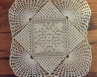 "Vintage 12"" square crocheted doily"