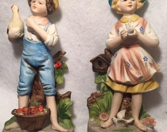 Homco ceramic farmer boy and girl