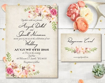 Wedding Invitation and RSVP - Carole Modern Vintage Rustic Watercolor Floral Invitation Personalized Card Suite