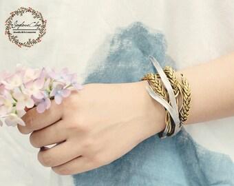 wheat cuff, gold leaf bracelet ,handmade by clay