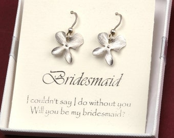 Silver orchid flower earrings,Flower girl gifts,Small four petal flower Sterling silver earrings with note card,Bridesmaid earrings