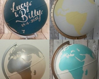 Hand Painted Custom Colour Globe | Wedding Guestbook | Hand Lettering | Wanderlust | Choice of Colours | Custom Design