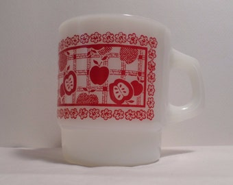 Vintage Fire King Milk Glass Red Apple Gingham Stackable Picnic Mug, White Milk Glass, coffee Cup, coffee mug, fire, king
