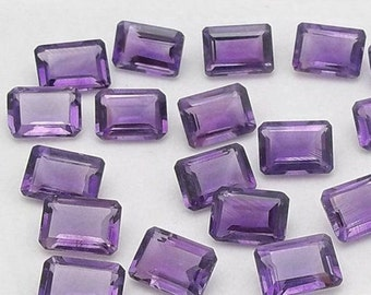 Wholesale Lot 10 Pcs Natural Amethyst Octagon Faceted Cut Gemstone For Jewelry