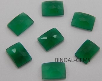 5 Pieces Rarest Wholesale Lot Green Onyx Octagon Rose Cut Gemstone For Jewelry
