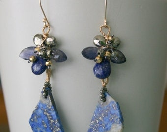 Gemstone Flower Earrings with Lapis Lazuli naturl stone with gold fill wire