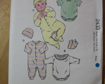 Kwik Sew 2433 Baby Rompers, Jumpsuits, Cap and Booties (Newborn to 18 months)