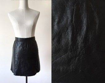vintage leather mini skirt // 90s leather skirt