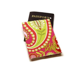 Boho style hot pink personalized monogrammed passport cover case holder. Mother's day gift. Travel gift idea.