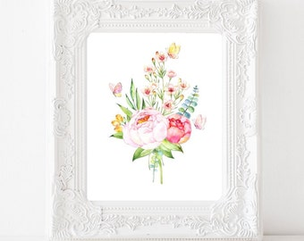 Watercolor Flowers Print, Watercolor Peony Bouquet, Watercolor Butterflies Printable, 8x10, Instant Download JPG & PDF Art Print, Home decor