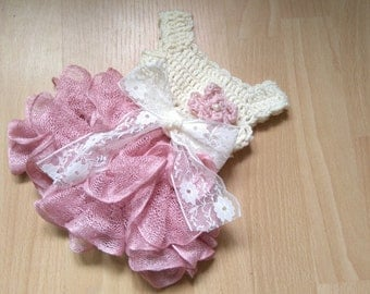Ivory and dusty pink baby dress, wedding baby outfit, baby frock with ruffles, baby girl crochet dress