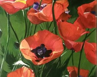 Poppies, flowers, garden, red, 12 x 16 original acrylic.