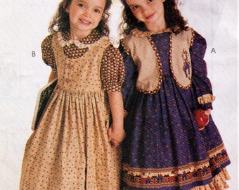 Girl's Ruffles and Lace Treasured Collection Long Primitive Dresses Sewing Pattern, McCalls 8426, Girls Sizes 2, 3 and 4, Uncut, Circa 1996