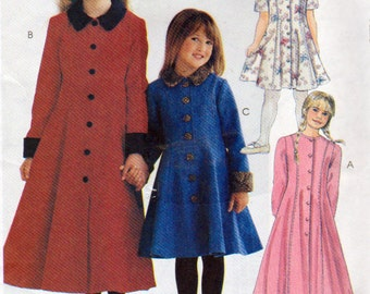 McCalls 8477, Little Girls Dress in 2 Lengths, Semi Fitted with Princess Seams, Sizes 4 to 7, front Buttons, Side Pockets, Collar or Not