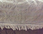 70s Lavender Fringe Bedspread Woven Cotton Whole Home by Sears