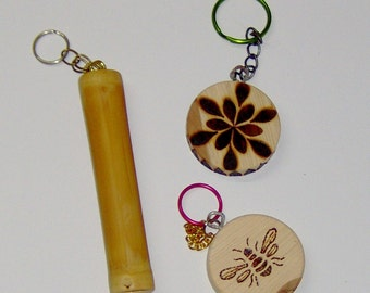 Hand Crafted Key Chains  Wood Bamboo ,Wood Burned Key Fob, Bamboo Key Chain Real Wooden Discs
