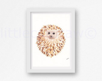 Hedgehog Print Happy Cuddly Round Hedgehog Watercolor Painting Print Woodland Animal Print Unframed Art Print Wall Art Wall Decor
