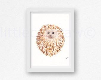 Happy Cuddly Round Print Hedgehog Watercolor Painting Print Woodland Animal Print Unframed Art Print